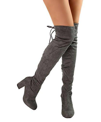 RF RAUM DER MODE Frauen Block-Block-Block-Block-Ferse-Stretch-Stiefel - erhältlich in mittlerer und breiter Wade Holzkohle Su - Mittleres Kalb