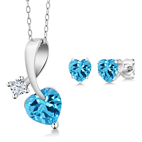 Earrings Heart Sterling Silver Shape (2.73 Ct Heart Shape Swiss Blue Topaz 925 Sterling Silver Pendant Earrings Set)