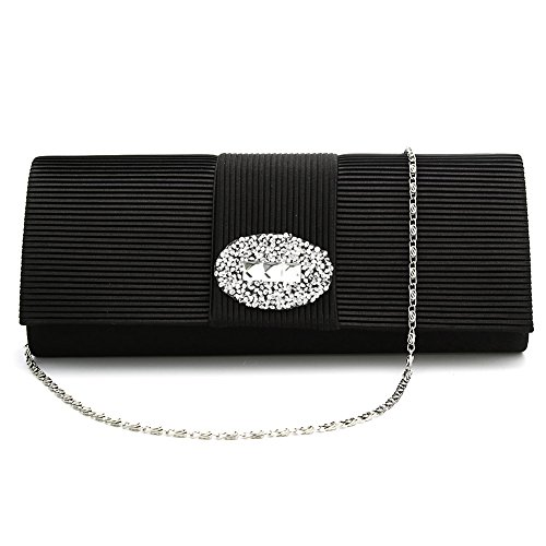 Ladies Designer Pleated Satin Wedding Evening Bags Formal Clutch Purse Crystal Evening Handbag for Women (Black) (Satin Clutch Evening)