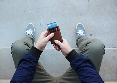 Andar Slim RFID Minimalist Card Case Full Grain Leather Wrapped - The Pilot (Saddle Brown) by Andar (Image #1)