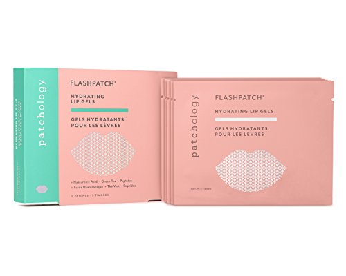 Patchology FlashPatch Hydrating Lip Gels to Moisturize Dry, Dehydrated Lips - w/ Peptides, Green Tea, Niacinamide - 5 Gels/ Box (Plumping Lip Stain)