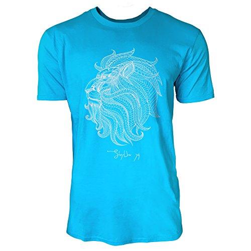 SINUS ART ® Löwenkopf mit Ornamenten Herren T-Shirts in Karibik blau Cooles Fun Shirt mit tollen Aufdruck