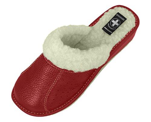 forro granate con de lana Varios zapatillas piel Auténtica colores señoras mujeres de chanclas axTC7Ywq0