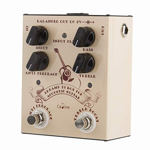 Caline Pedal Preamp DI Box for Acoustic Guitar Effects Pedal True Bypass with Aluminum Alloy Housing CP-40