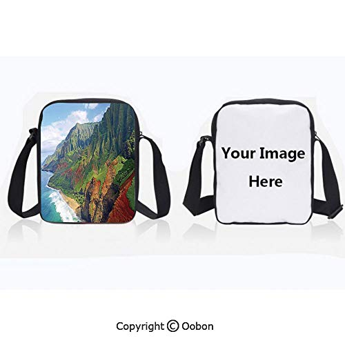 Polyester Anti-Theft Everything Crossbody Bag Unisex Teen Na Pali Coast Kauai Hawaii Seashore greenery Adventurous Journey Landscape Scenery Lightweight Zipper Multi-Pocketed Travel ()