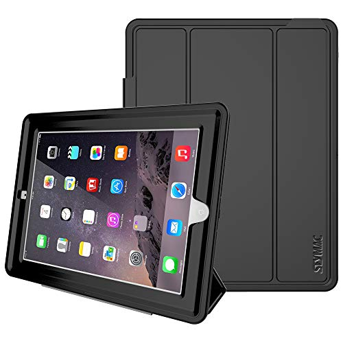 4th Generation Case - iPad 4th Generation Case, iPad 2/3/4 Case,SEYMAC Stock Shockproof Heavy Duty 3 Layer Case, Drop Proof Auto Sleep Smart Cover Protective Magnetic PU Leather Stand for iPad 4th/3rd/2nd Generation(Black)