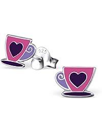 "925 Sterling Silver ""Pink and Purple Coffee Cup w/ Heart"" Stud Earrings 1986"