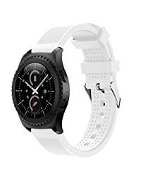 Welcomeuni Fashion 20MM Sports Silicone Bracelet Strap Band For Samsung Gear S2 Classic 732 (WH)