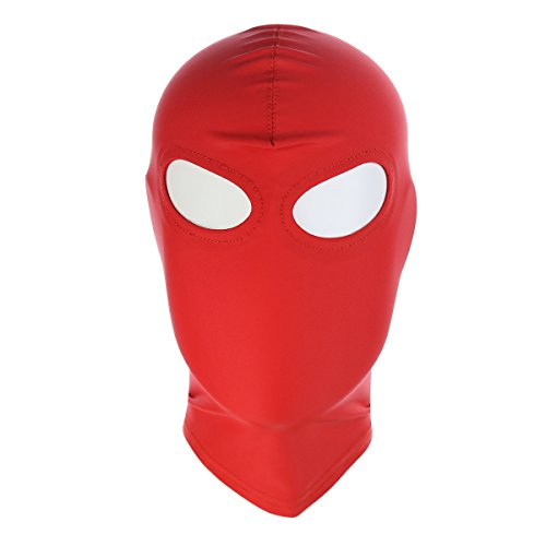 HOT TIME Unisex Lycra Spandex Zentai Hood Mask (S-Small, Red-Open Eyes)]()
