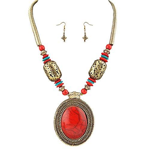 Zephyrr Fashion Necklace Earrings Set Tibetan Beaded Handmade for Women ()