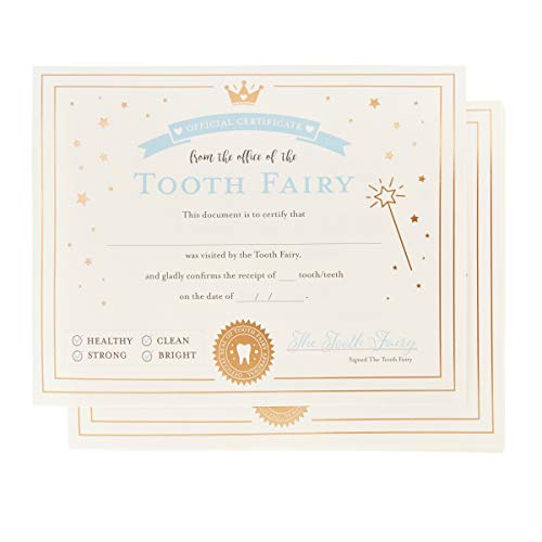 Juvale 32-Pack Tooth Fairy Paper Certificate Letter Receipts with Gold Foil for Kids, 8.5 x 11 Inches