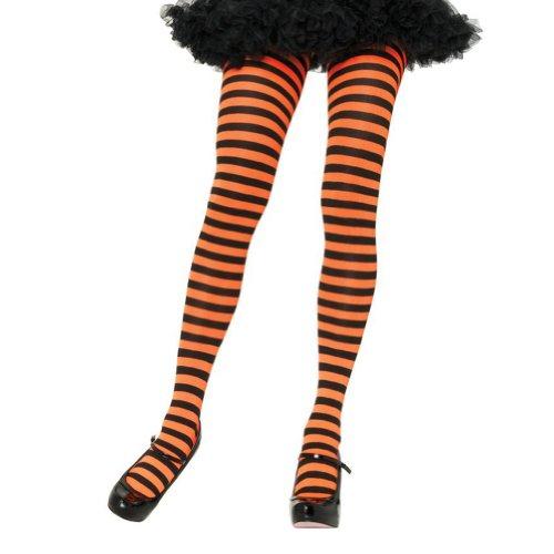 Leg Avenue Women's Nylon Striped Tights, Black/orange, One Size ()