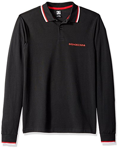 DC Men's LAKEBAY 2 Long Sleeve Polo TEE Shirt, Black, L ()