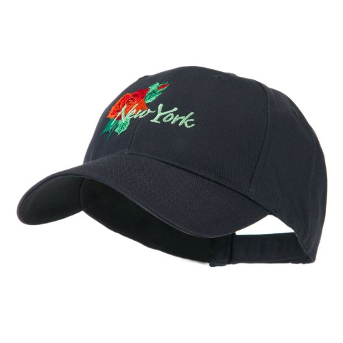 Dakota Womens Cap (USA State Flower New York Rose Embroidery Cap - Navy OSFM)