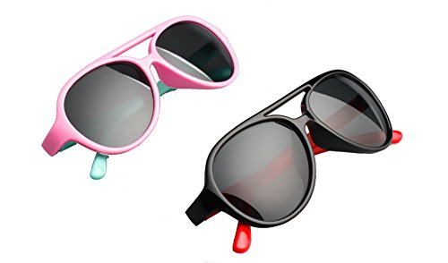 2 Pack Kids Aviator Polarized Sunglasses Gifts for Boys and Girls Toddlers Age - Problems Glasses Rimless