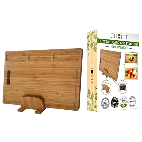ChopIT XL Bamboo Cutting Board Set w/ Stand, Juice Grooves, 3 Built-in Compartments | Chopping Board & Butcher Block Resists Cracking & Warping | Safe & Durable Alternative to Plastic ()