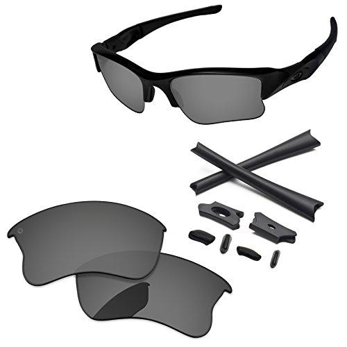 PapaViva Replacement Lenses & Rubber Kits for Oakley Flak Jacket XLJ Pro+ Black Chrome - Lenses Polarized Oakley Flak