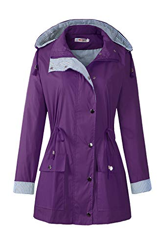 BBX Lephsnt Women's Waterproof Jacket Hooded Lightweigth Raincoat Active Outdoor Trench Coat from BBX Lephsnt