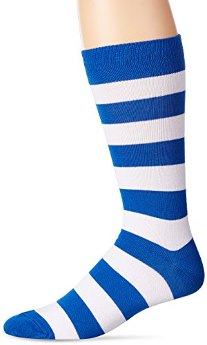 Fashion Stripe Sock - Hot Sox Men's Fashion Pattern Slack Crew Socks, College Rugby Stripe (Blue/White), Shoe Size: 6-12