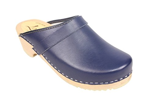 Lotta From Stockholm Torpatoffeln Swedish Clogs : Classic Clog in Blue Leather US 8.5 / EUR (Blue Womens Clogs)