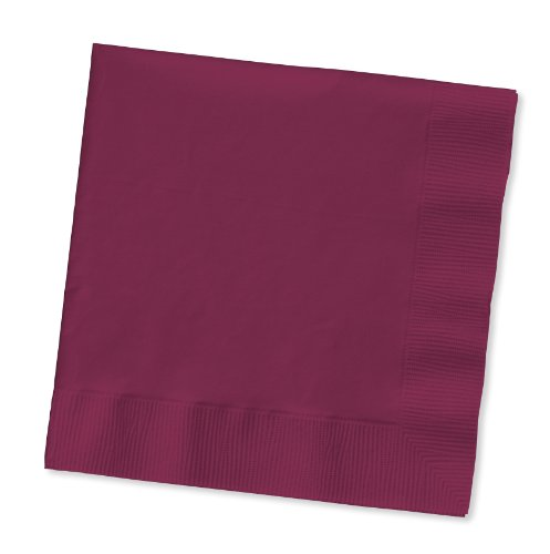 Creative Converting 100 Gorgeous Burgundy Beverage/Cocktail Napkins for Wedding/Party/Event, 2ply, Disposable, 5
