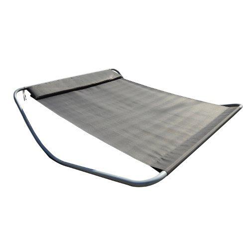 Bain de soleil chaise longue transat à bascule deux personnes tissu imperméable 212L x 175l x 60Hcm gris neuf 09