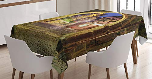 MIGAGA Wanderlust Decor Tablecloth, View of Riquewihr Alsace France Through City Wall Gate at Night Historical Town Picture, Dining Room Kitchen Rectangular Table Cover, 52 X 70 inches, Brown