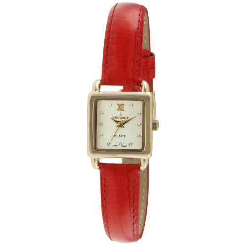 Peugeot Women's 14K Gold Plated Small Square Skinny Coral...