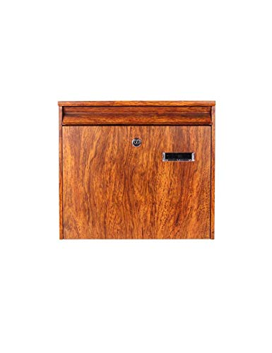 TYUIO Finished Natural Wood Charity Donation & Suggestion Box Ballot Box with Side Pocket - with Hinged Lid and Safety Lock