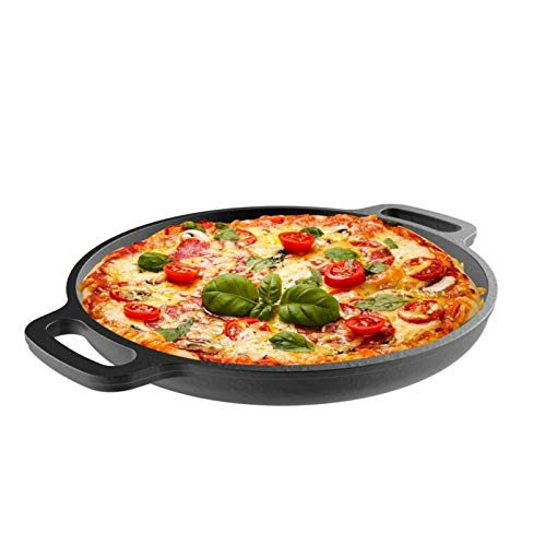 WUIIEN Cast Iron Pre-Seasoned Pizza Pan, Cooking, Broiling, 13.25-Inch