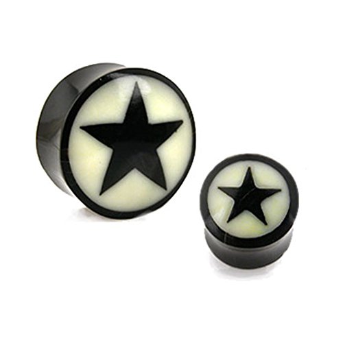 MsPiercing Pair Of Natural Buffalo Horn Saddle Plugs With Bone Star Inlay, Gauge: 7/8