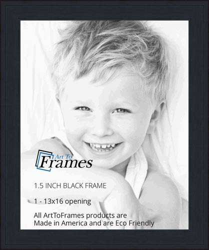 ArtToFrames 13x16 inch Black Stain on Pine Wood Picture Frame, 2WOM0066-80206-YBLK-13x16