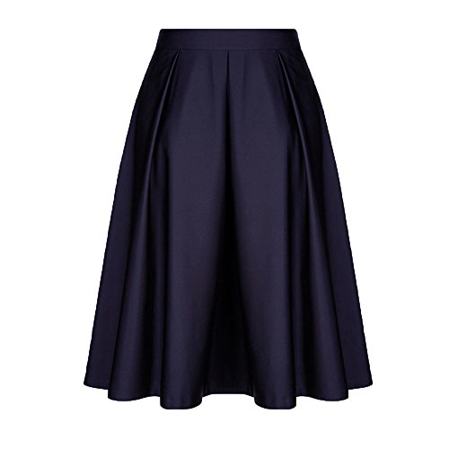 Lavany Women Ruffled Swing Skirt Cotton A-line Pleated Princess Midi Skirt for Girl Blue - Ribbed Cotton A-line Skirt