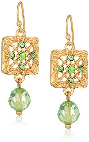 - 1928 Jewelry Gold-Tone Green Square Filigree Drop Earrings