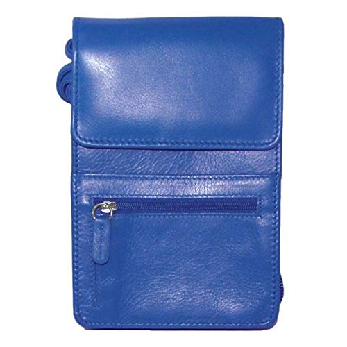 (ili New York 6827 Leather Crossbody Organizer with RFID Blocking Lining (Cobalt))