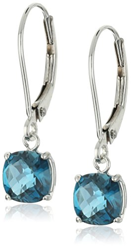 10k White Gold Cushion-Cut Checkerboard London Blue Topaz Leverback Earrings (6mm)