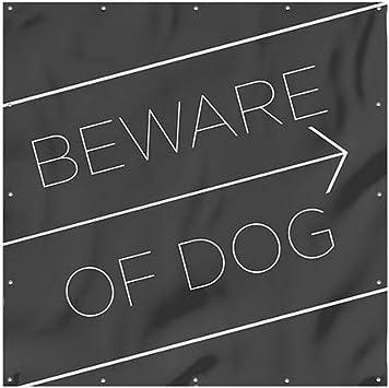 CGSignLab Beware of Dog Basic Black Wind-Resistant Outdoor Mesh Vinyl Banner 8x8