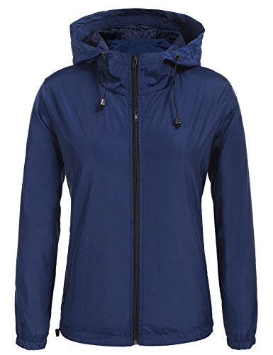 Beyove Women Lightweight Windbreaker Waterproof Long Rain Hooded Jacket With Drawstring Navy Blue (Drawstring Hooded Long Jacket)