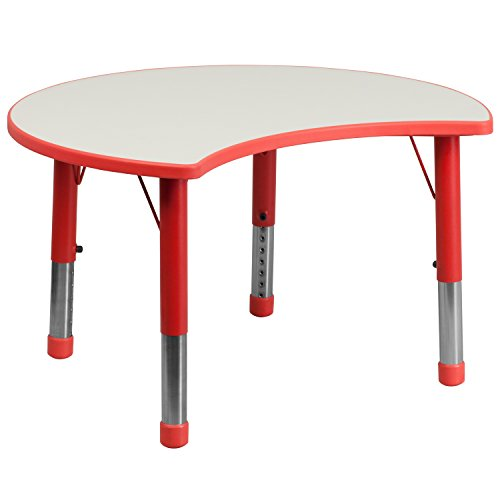 Flash Furniture 25.125''W x 35.5''L Cutout Circle Red Plastic Height Adjustable Activity Table with Grey Top