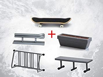 Tech Deck Fingerboard With Rail Finger Skate Board Park Ramp Parts Scooter