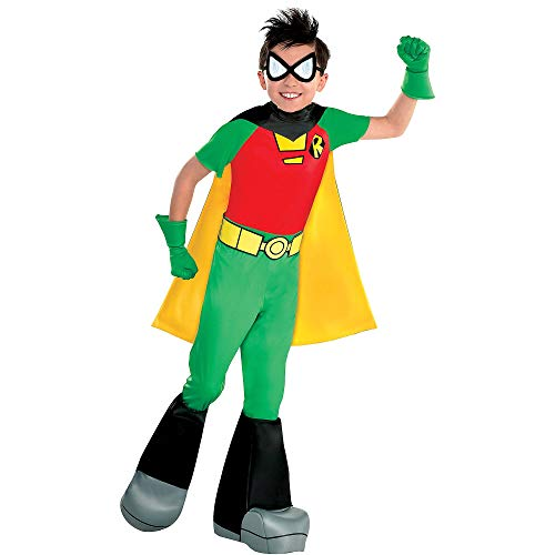 Suit Yourself Teen Titans Go! Robin Costume for Boys, Size Small, Includes a Jumpsuit, a Cape, Boot Covers, and More -