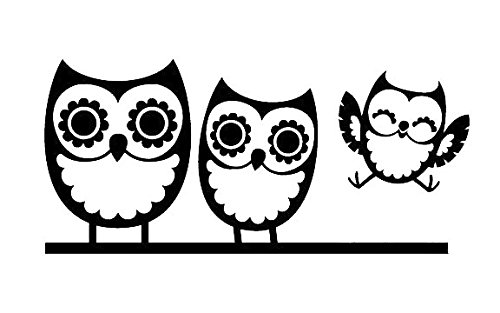 Amazon Owl Family Of Three Decal Sticker White Black Silver Yellow Or Blue H 3 By L 65 Inches Automotive