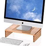 Well Weng Monitor Stand Riser with Vented Bamboo for Computer, Laptop, Desk, iMac, Printer (M2)