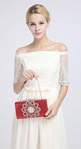 KAXIDY Bolsos de Fiesta Bolsos Ceremonia Clutches Para Carteras de Mano Bolsos Vestir Fiesta Bolso Noche Rosa-rojo