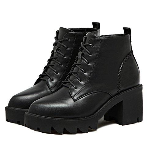 Ladola Womens Closed-Toe Waterproof Soft-Ground Urethane Boots Black OXs32