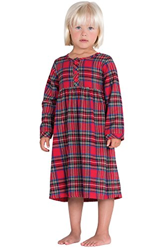 PajamaGram Classic Stewart Plaid Flannel Nightgown, Red, 3T