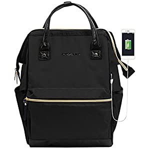 KROSER Laptop Backpack 15.6 Inch Laptop Bag Casual Daypack Water Repellent Nylon Briefcase Business Bag Tablet With USB Port for College/Travel/Business /Women/Men-Black