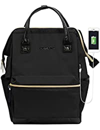 Laptop Backpack 15.6 Inch Stylish Computer Backpack School Backpack Casual Daypack Laptop Bag Water Repellent Nylon Business Bag Tablet With USB Port for Travel/Business/College/Women/Men-Black