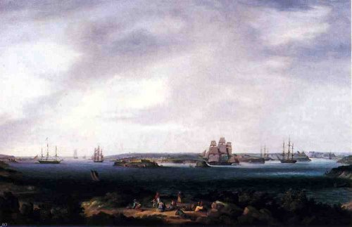 Thomas Birch American Warships Anchored at Port Mahon Spain - 18'' x 27'' 100% Hand Painted Oil Painting Reproduction by Art Oyster