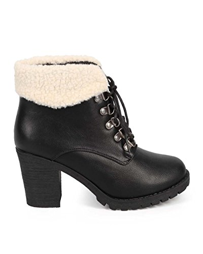 Heel Black Women Fur Up Bootie Chunky DE60 Fahrenheit Leatherette Lace Shearling Winter pqF7WBY